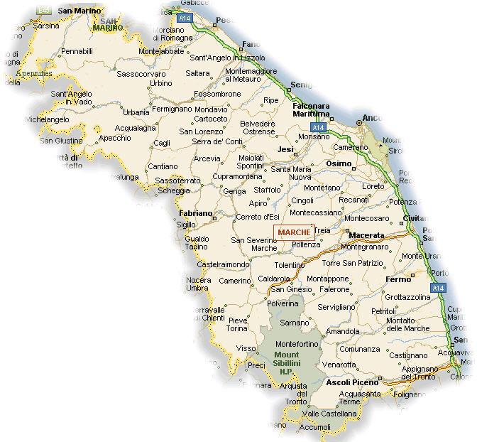 Marche mappa - cartina della regione marche